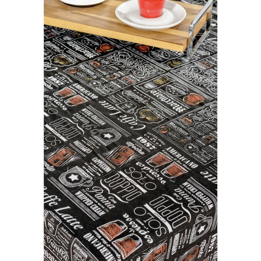 Toalha de Mesa retangular Estampada Americano 1,50m x 1,40m  Tecido Misto - Preto