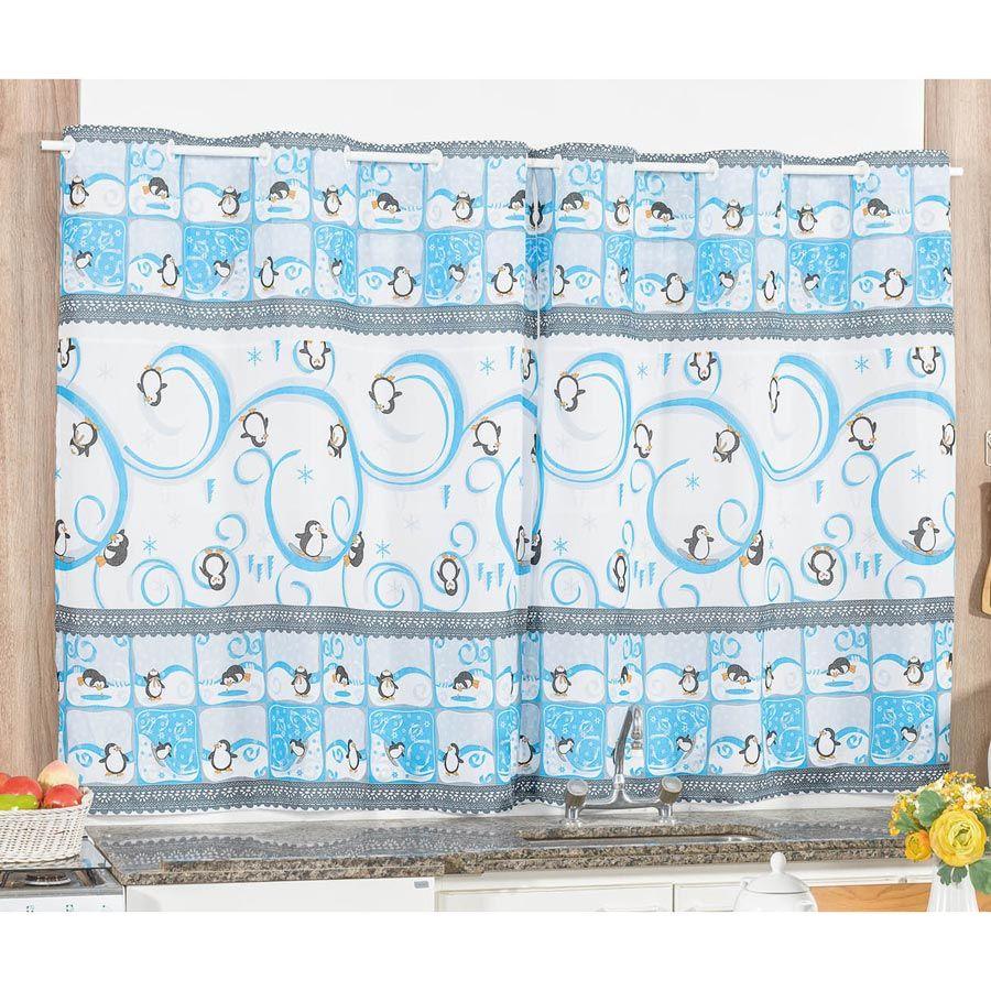 Cortina para Cozinha de Varão Estampada Pinguim 2 Metros x 1,50 Metros Alt - Azul