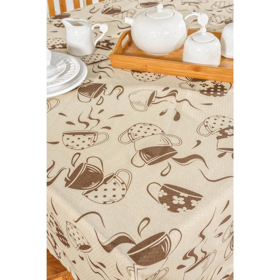 Toalha de Mesa retangular Estampada Café 3,00m x 1,40m Tecido Misto - Bege