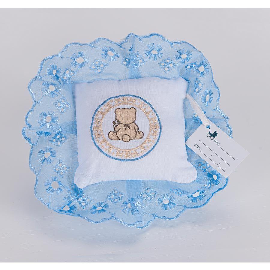 Kit de Lembranças para Bebê Marina 06 Peças com Bordado - Urso Azul