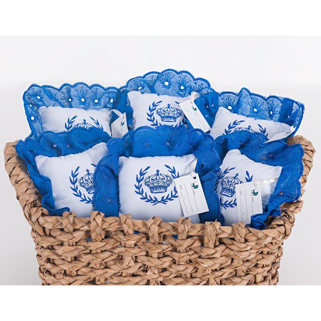 Kit de Lembranças para Bebê Marina 06 Peças com Bordado - Coroa Azul
