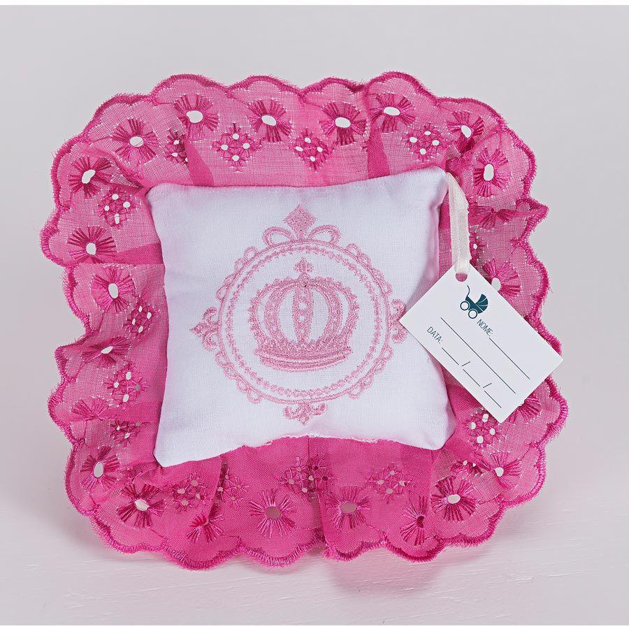 Kit de Lembranças para Bebê Marina 06 Peças com Bordado - Coroa Rosa