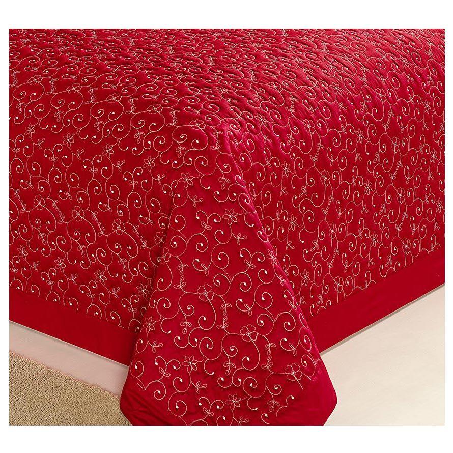 Cobre Leito Casal Queen Dior 03 Peças todo Bordado - Vermelho