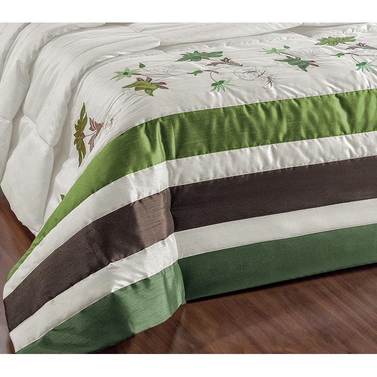 Cobre Leito Casal Queen Dolce 05 Peças com Almofadas Tecido Chantung - Verde