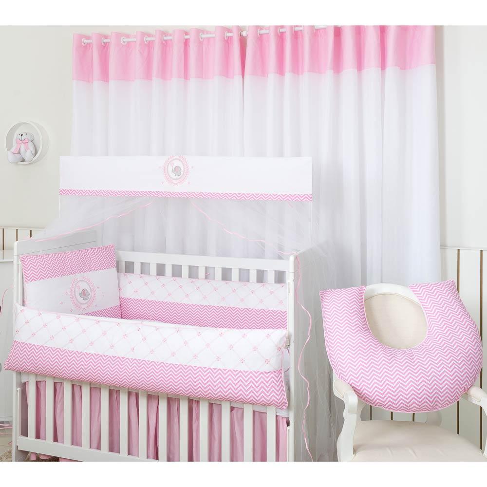 Apoio para Amamentar Bebê Coleção Elefante Rosa 180 Fios - Chevron Rosa