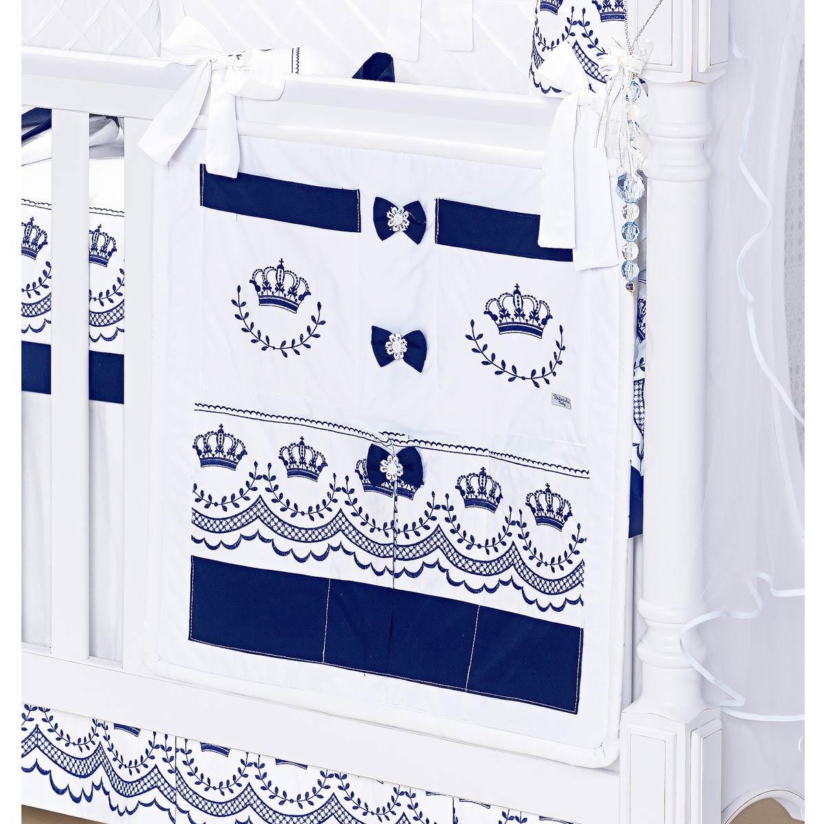 Porta Objetos para Berço de Bebê - Coleção Elegance Marinho