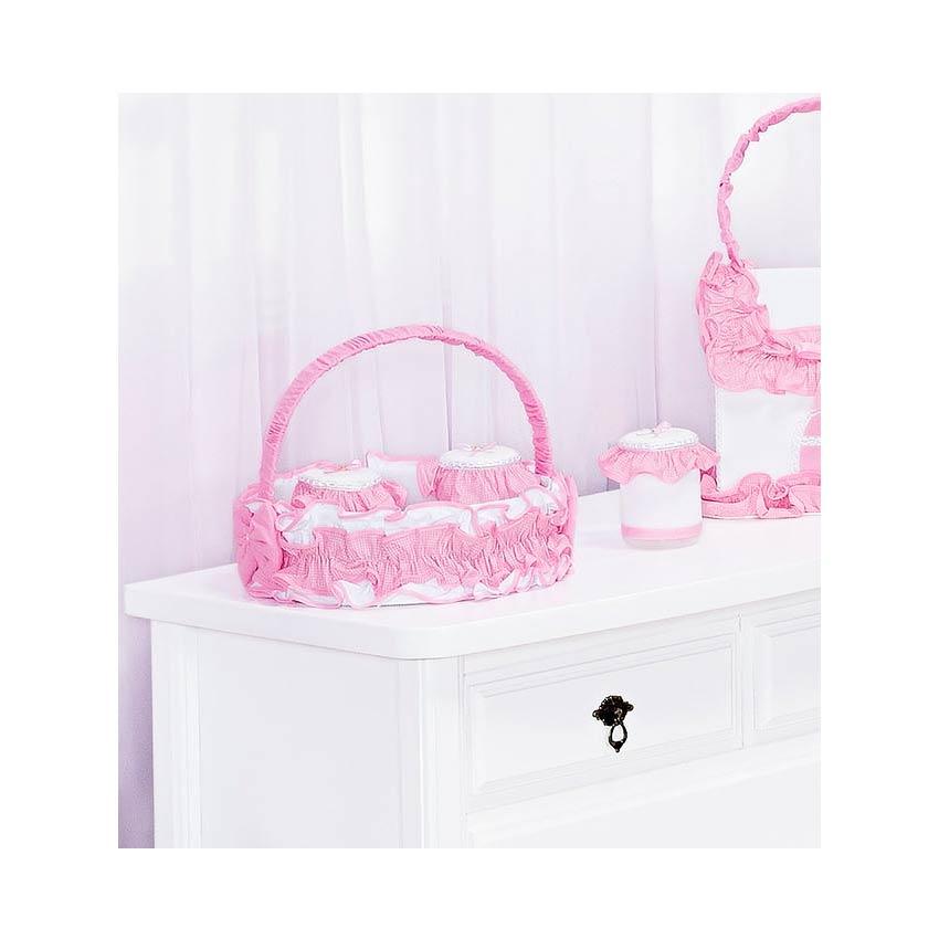 Kit Acessórios com Abajur, Cesta e Potes Coleção Encanto - Rosa
