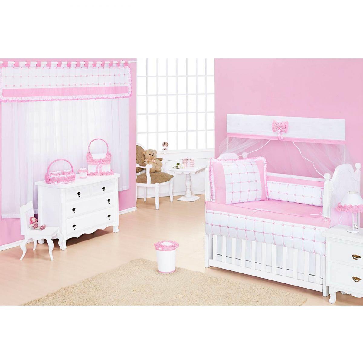 Coleção Completa para Quarto de Bebê Encanto Rosa - 18 Peças