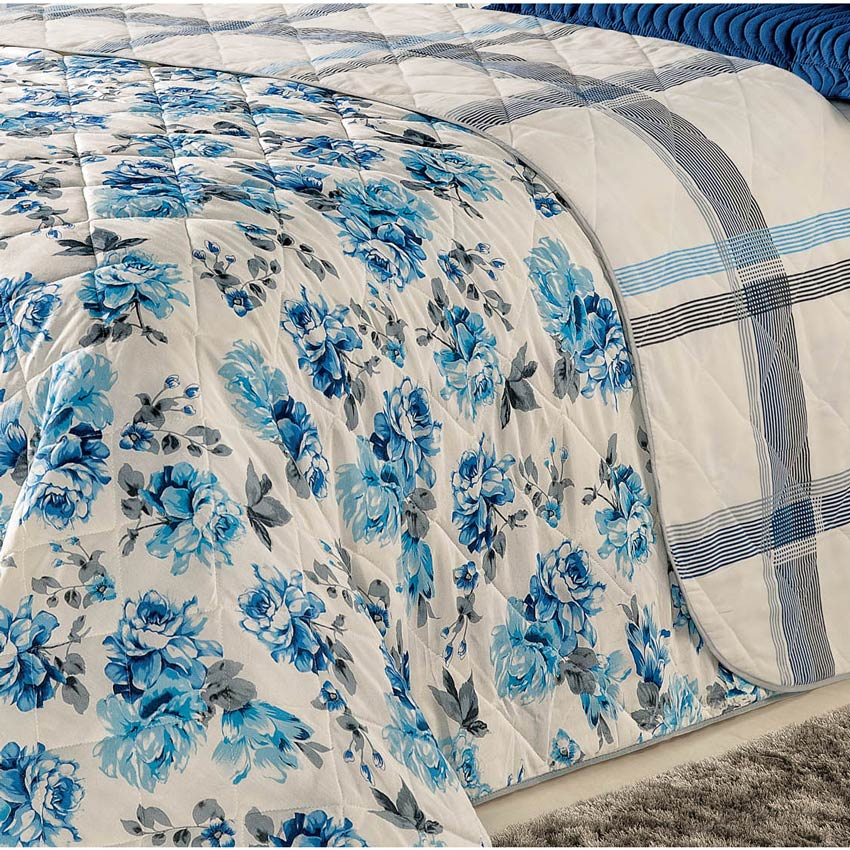 Cobre Leito Casal Queen Esmeralda DF 04 Peças Percal 180 Fios com Lençol - Flores Azuis