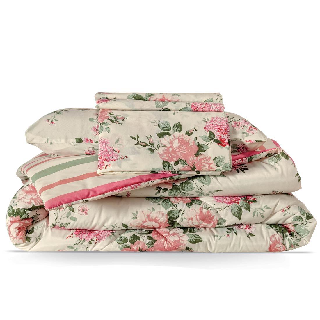 Cobre Leito Casal Queen Esmeralda DF 04 Peças Percal 180 Fios com Lençol - Bouquet Pink