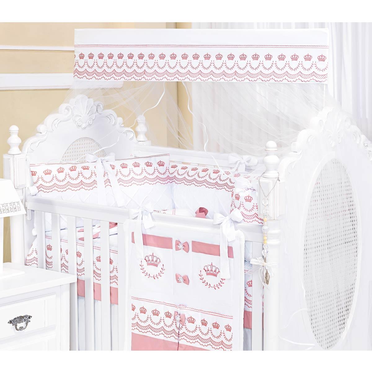 Kit Berço 09 Peças Coleção Elegance Rosé 100% Algodão 200 Fios
