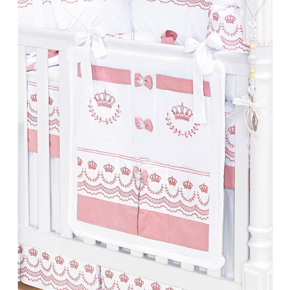 Porta Objetos para Berço de Bebê - Coleção Elegance Rosé