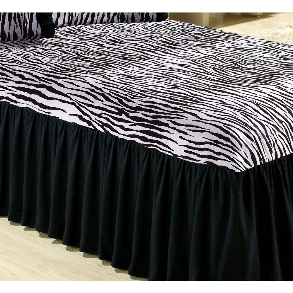 Colcha Casal Padrão Felina 03 Peças Tecido Misto - Zebra