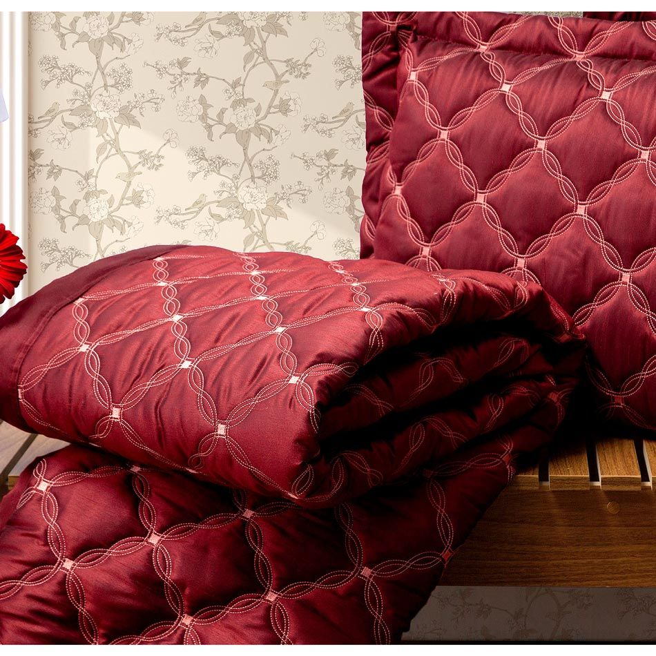 Cobre Leito Casal King Fiorella 03 Peças Tecido Tafetá - Vermelho
