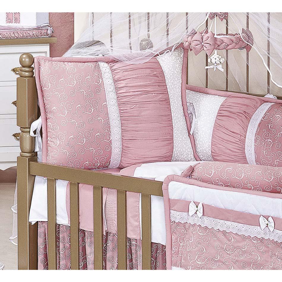 Coleção Completa para Quarto de Bebê Flor de Liz 100% Algodão - 25 Peças
