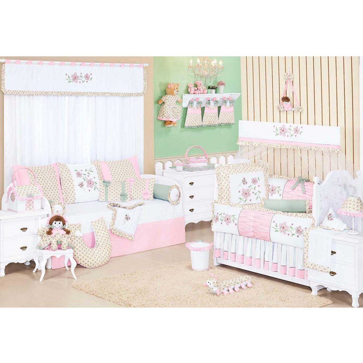 Kit Berço 09 Peças Coleção Baby Florence 100% Algodão - Rosa