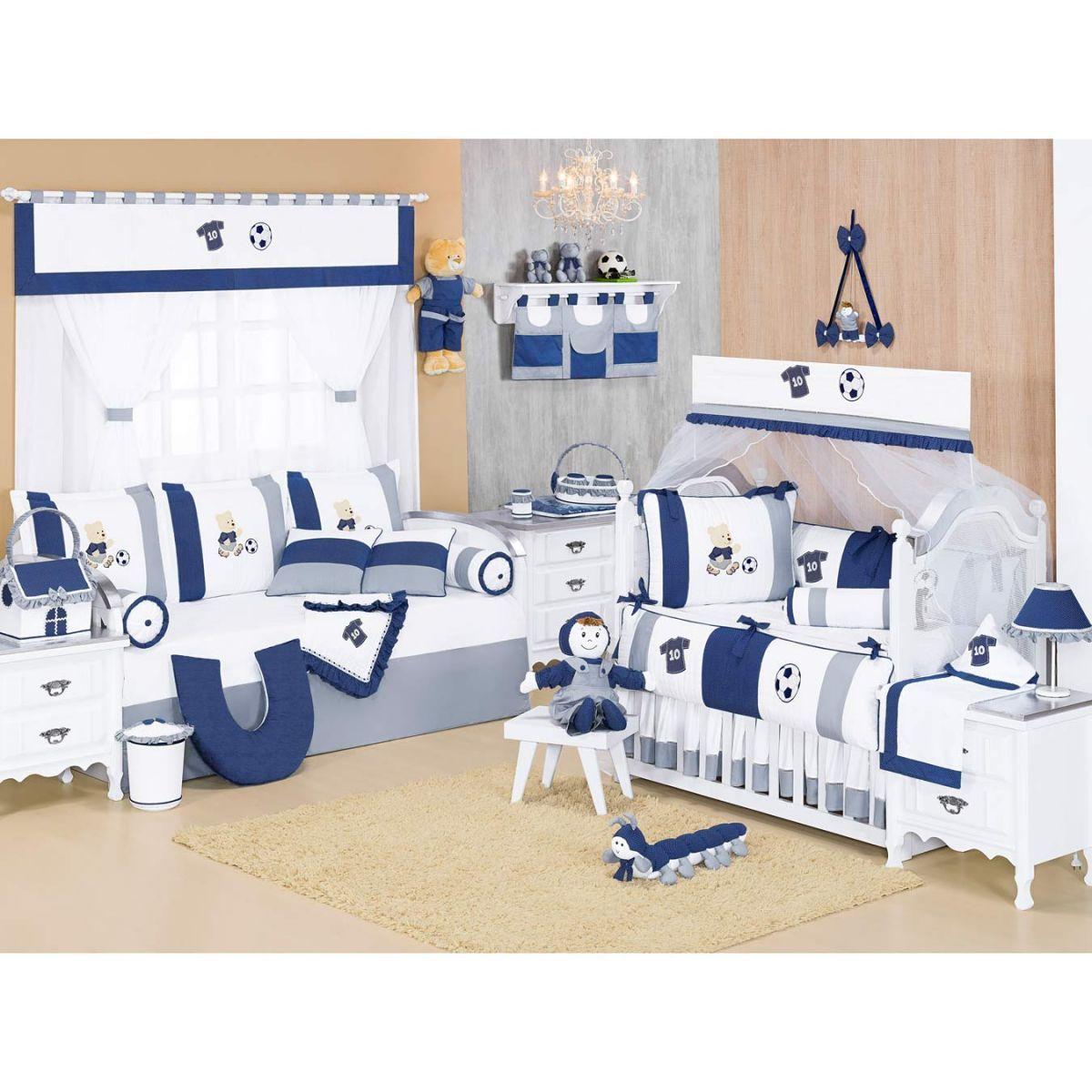 Centopéia decorativa para Quarto Bebê Coleção Futebol - Azul