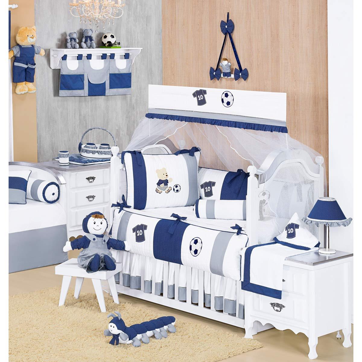Coleção Completa para Quarto de Bebê Futebol Azul - 32 Peças