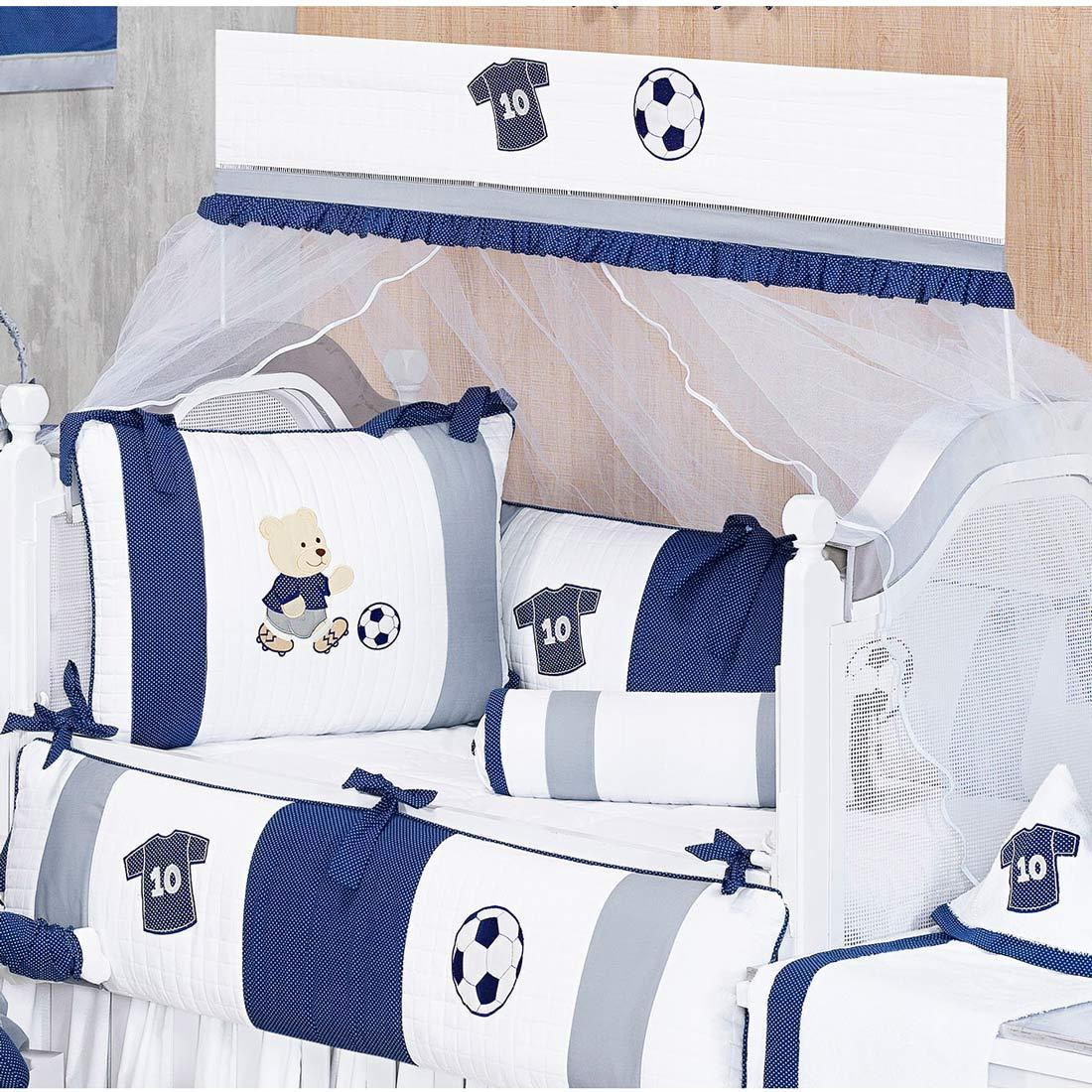 Kit Berço 09 Peças Coleção Futebol 100% Algodão 180 Fios - Azul