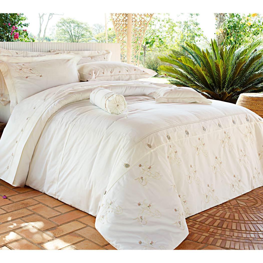 Capa de Edredom (Duvet) Casal Queen Giardini 3 P�s - 100% Algod�o 230 Fios Acetinado - Palha