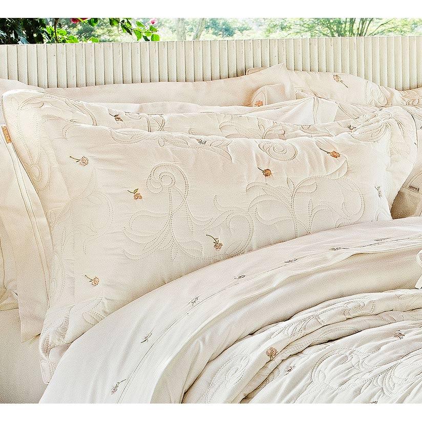 Cobre Leito Casal Queen Giardini 3 Pçs - 100% Algodão 230 Fios Acetinado - Palha