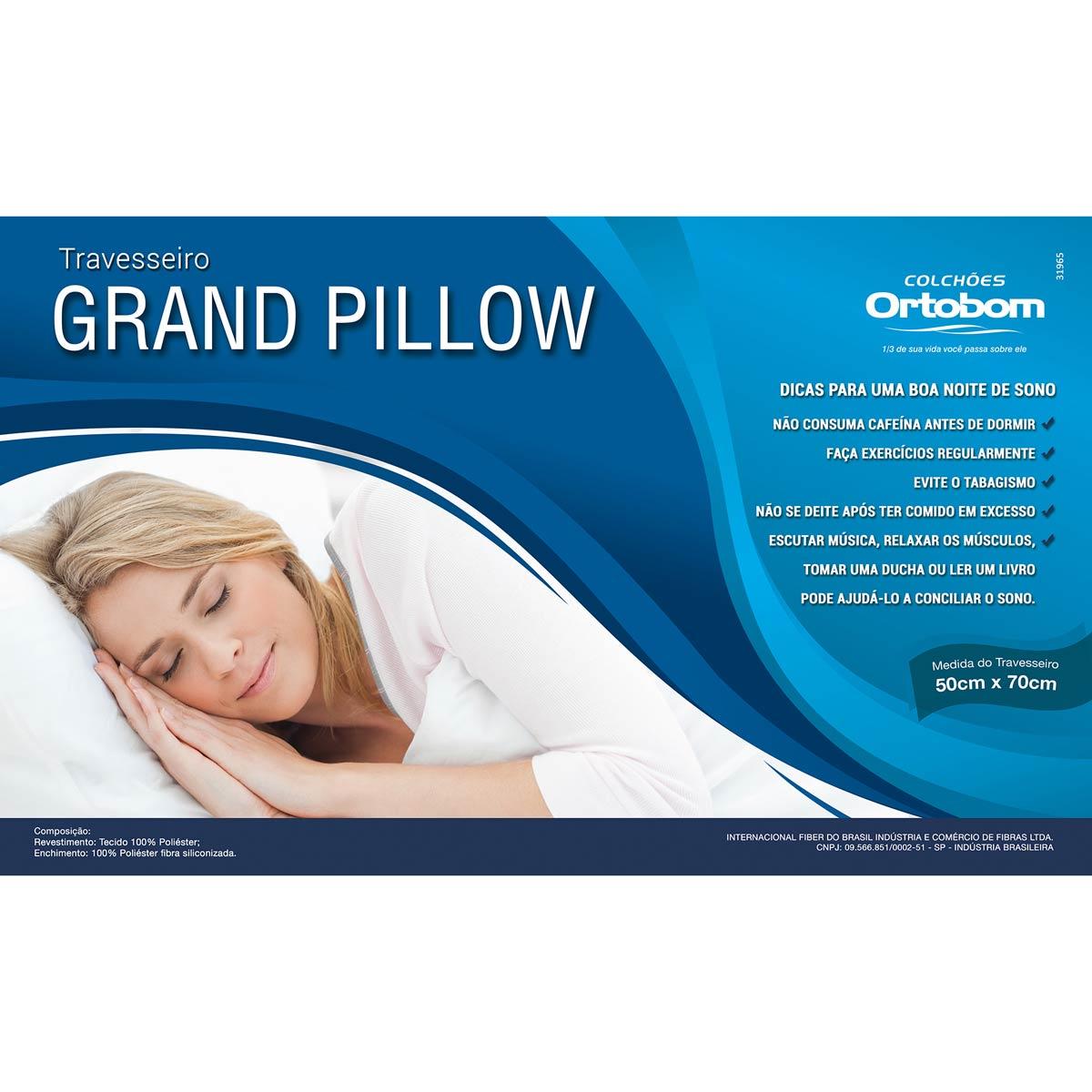 Travesseiro Grand Pilow 100% poliéster 70cm x 50cm - Ortobom