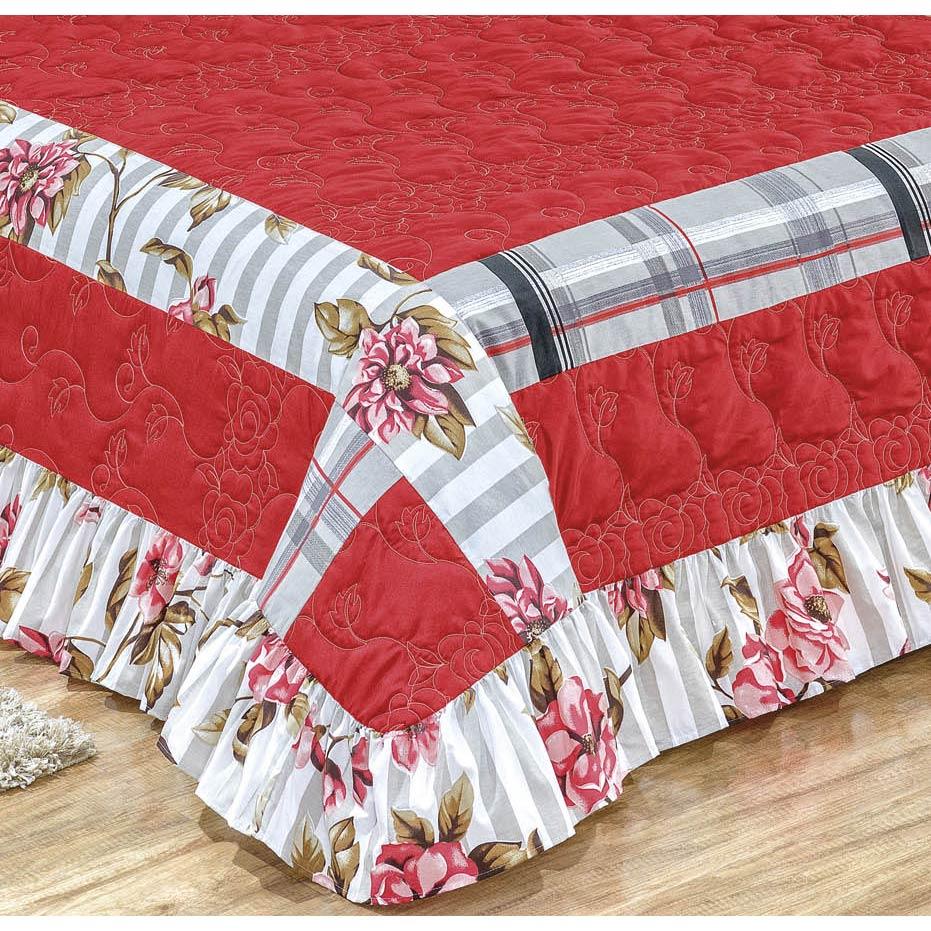 Colcha Casal Queen Ideale 03 Peças Tecido 100% Algodão 180 Fios - Vermelho
