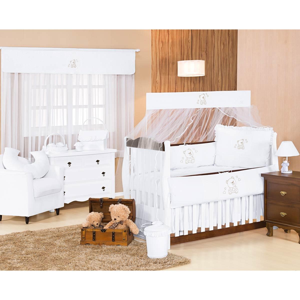 Lixeira Enfeitada p/ Quarto de Bebê - Coleção Imperialle Branco