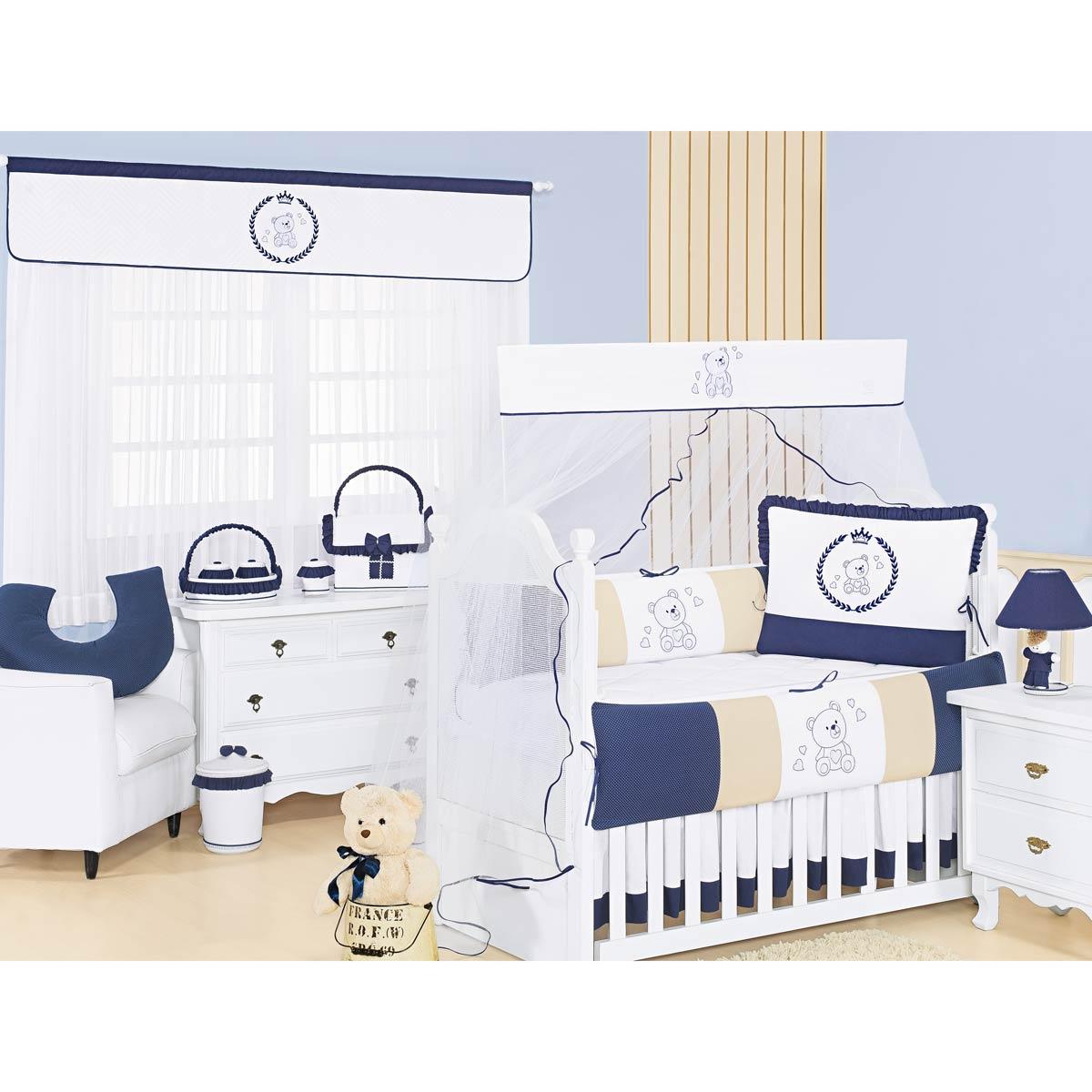 Cortina p/ Quarto de Bebê 2 Metros - Coleção Imperialle Marinho