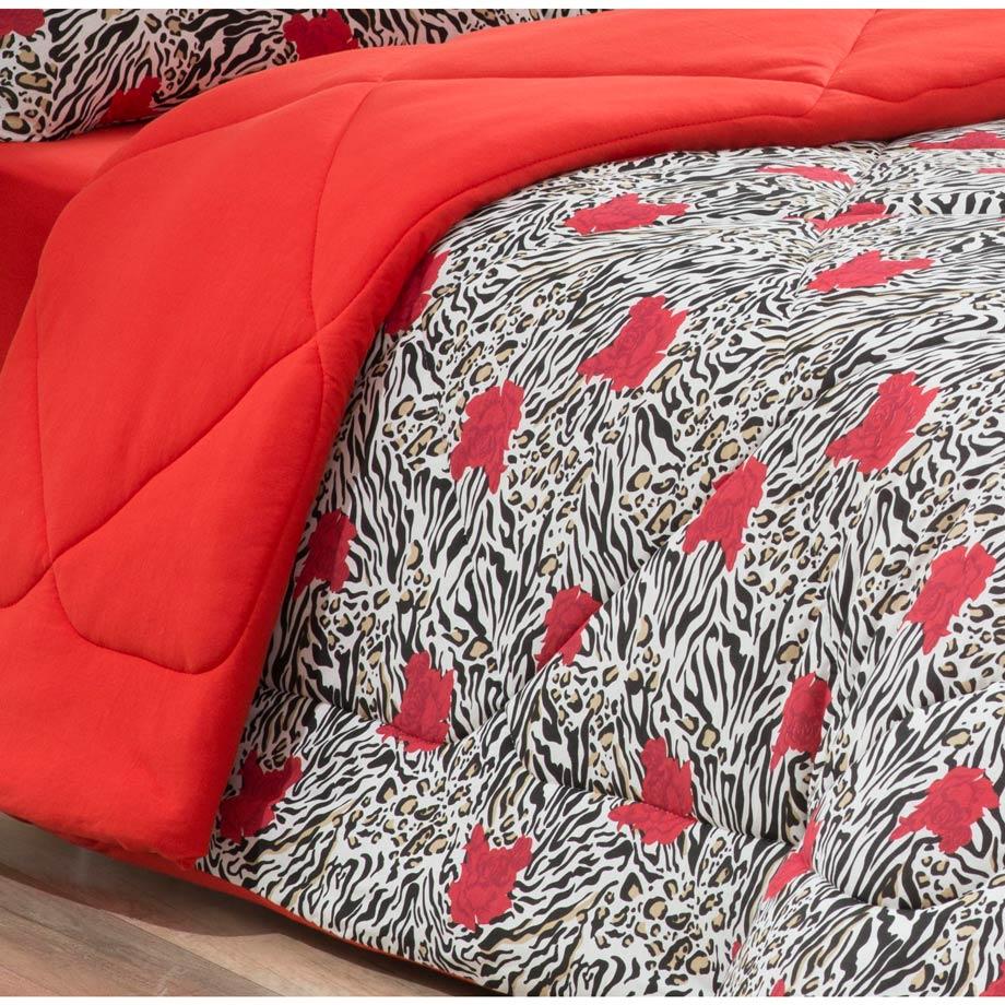 Edredom Casal Queen Avulso Jaque 01 Peça Dupla Face 100% Algodão Malha Penteada - Vermelho Onça 16