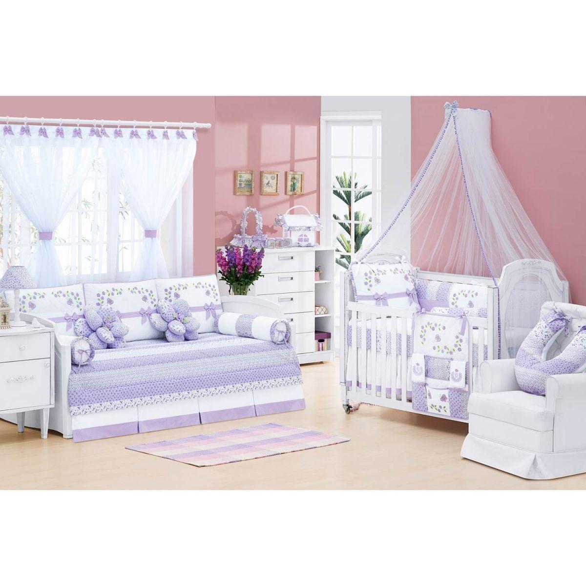 Almofada para Quarto de Bebê  Coleção Jardim das Flores - Lilás
