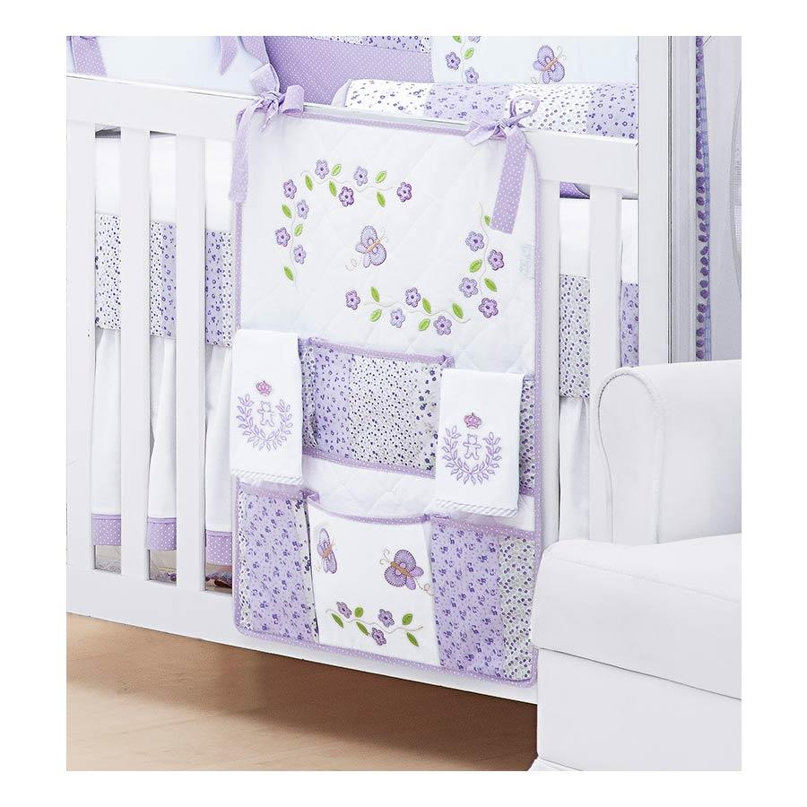 Porta Objetos para Berço de Bebê Coleção Jardim das Flores - Lilás