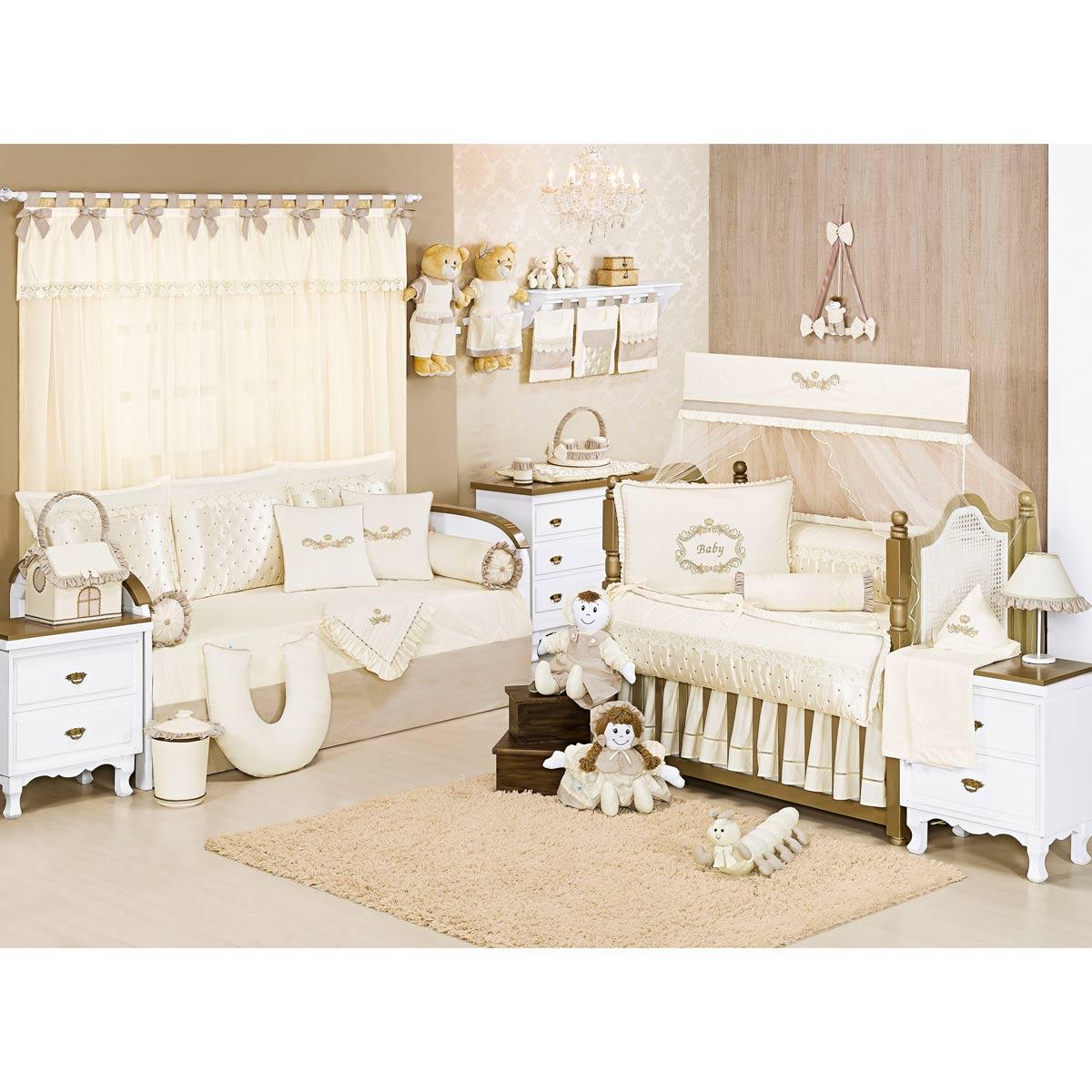 Lixeira Enfeitada para Quarto de Bebê - Coleção Imperial Palha
