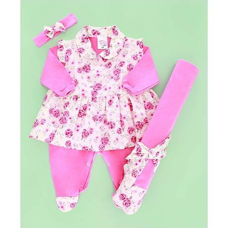 Saida Maternidade Estampado Rosa - Tecido Malha - Rosa - P