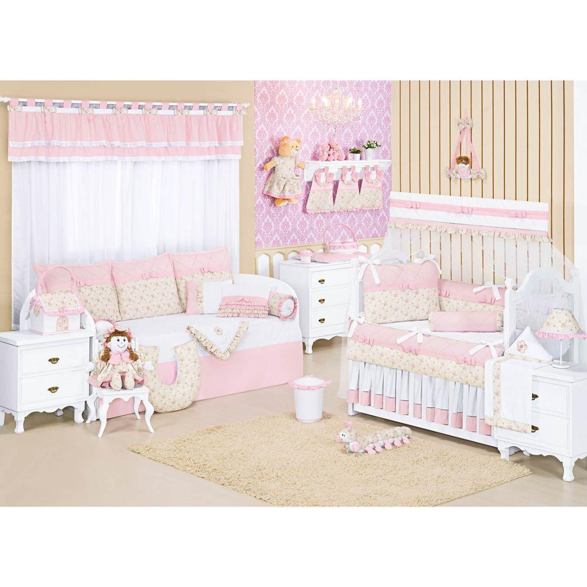 Coleção Completa para Quarto de Bebê Lacinhos Baby Rosa - 32 Peças