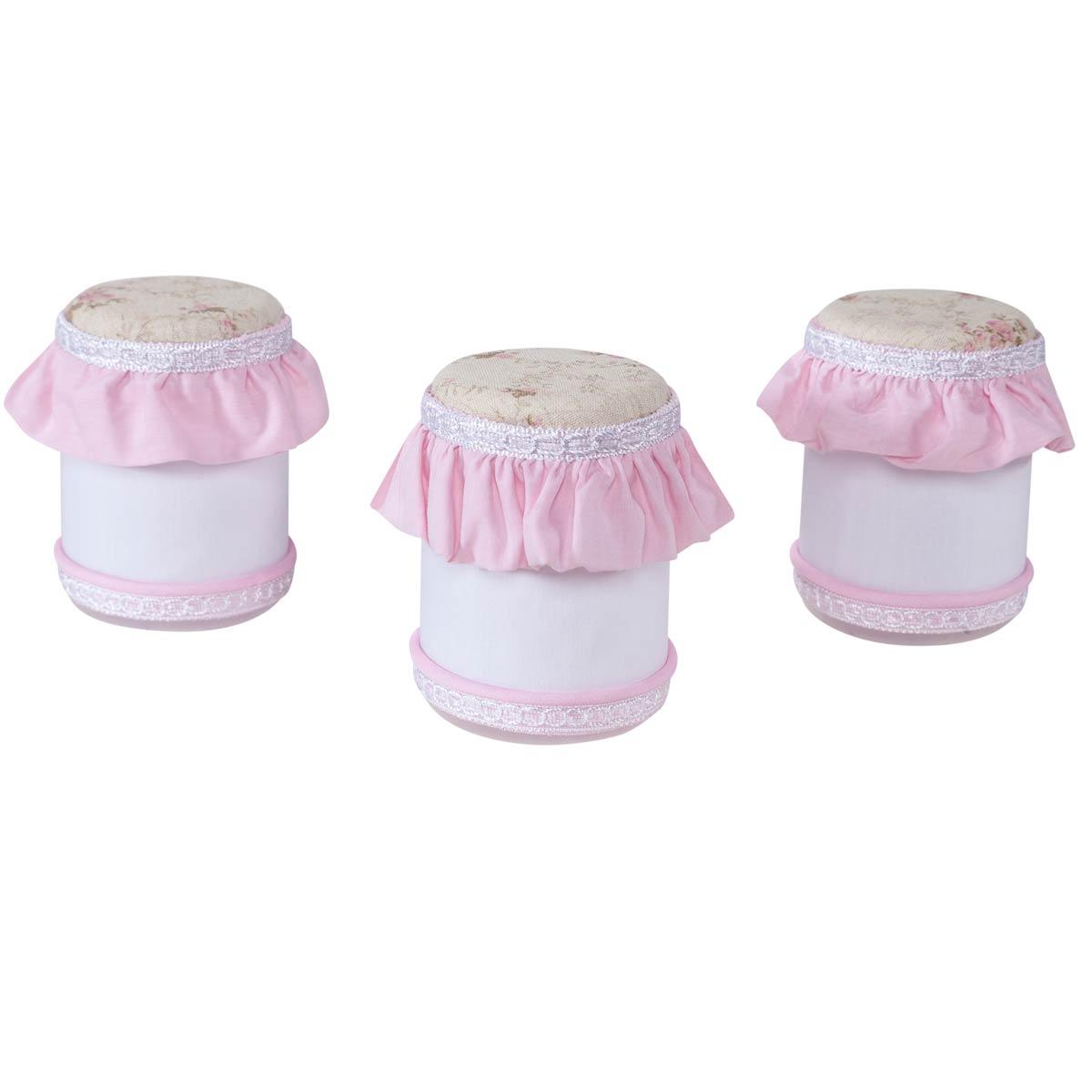 Kit Acessórios com Abajur, Cesta e Potes Coleção Lacinhos Baby - Rosa
