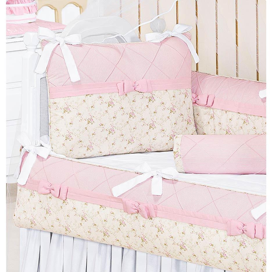 Kit Berço 09 Peças Coleção Lacinhos Baby 100% Algodão - Rosa