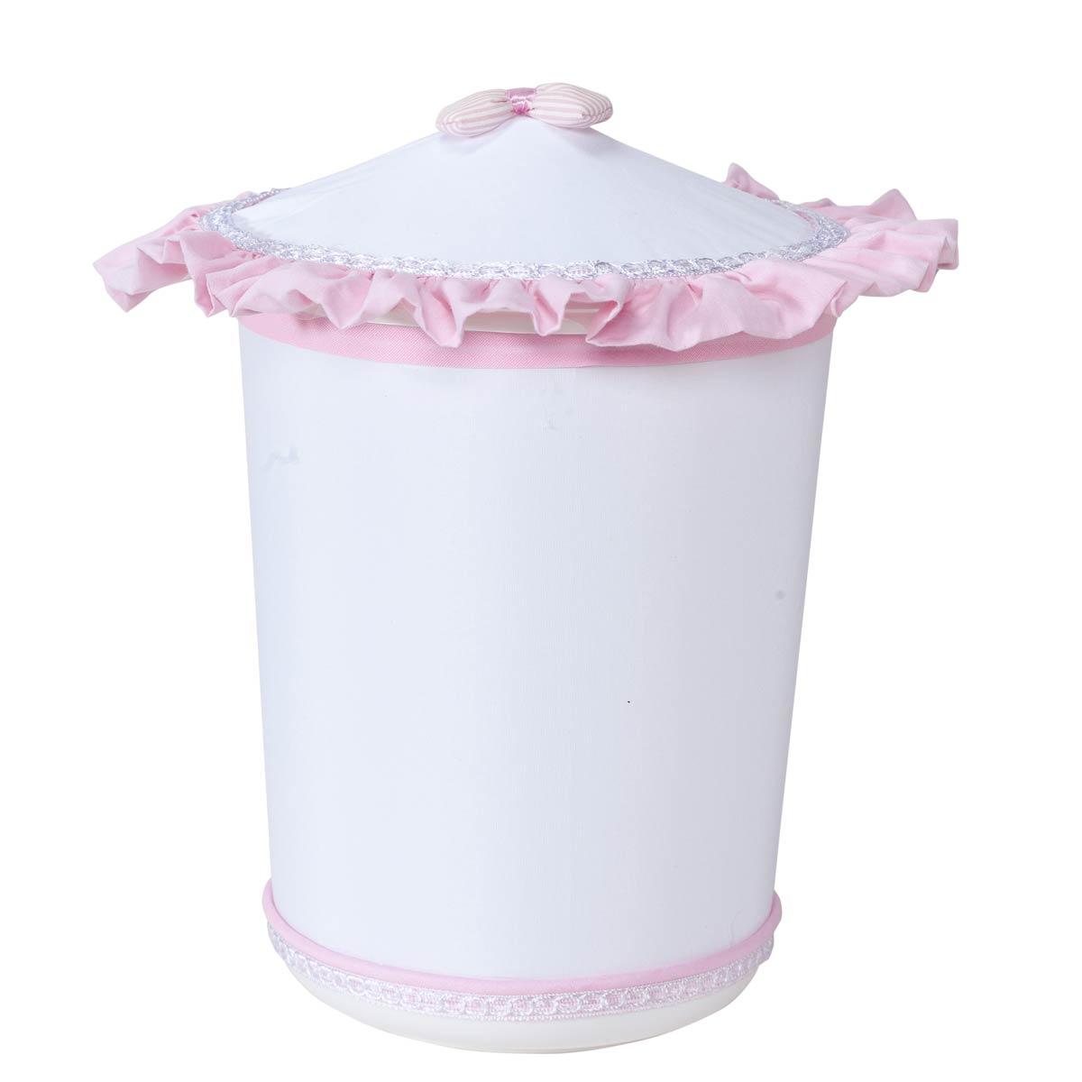 Lixeira Enfeitada para Quarto de Bebê Coleção Lacinhos Baby - Rosa