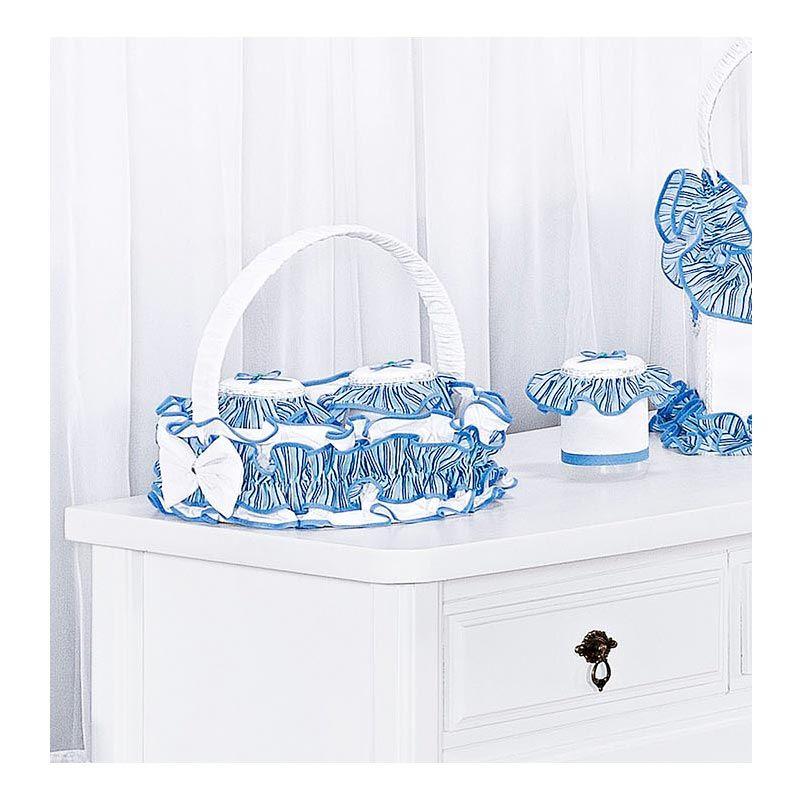Kit Acessórios com Abajur, Cesta e Potes Coleção Lambreta - Azul