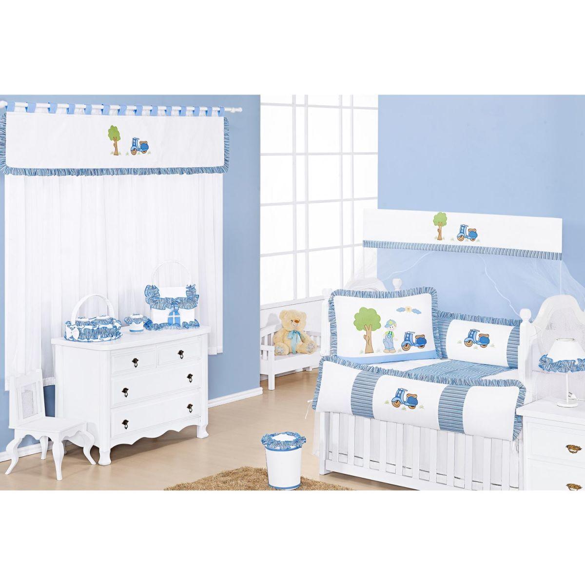 Lixeira Enfeitada para Quarto de Bebê Coleção Lambreta - Azul