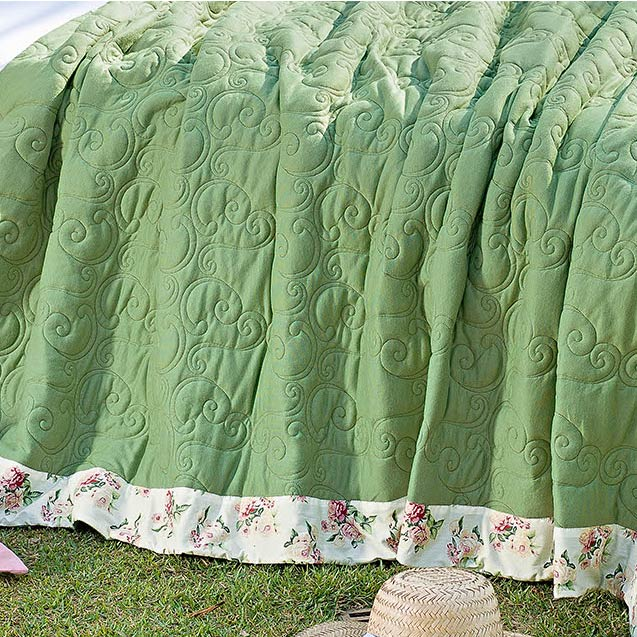 Cobre Leito Casal Queen Lavonne 03 Peças - Malha Penteada/Bordado - Verde
