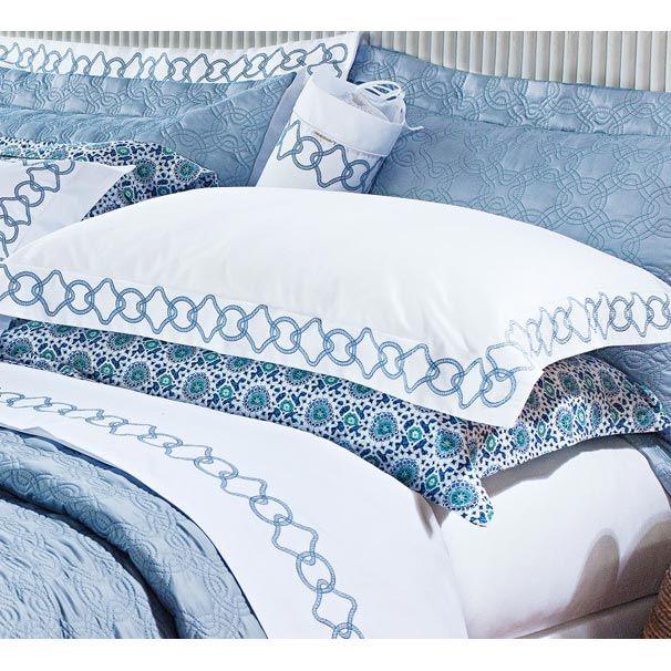 Jogo de Lençol Casal King Lazuli 4 Pçs - 100% Algodão 400 Fios Egípcio - Branco/Azul