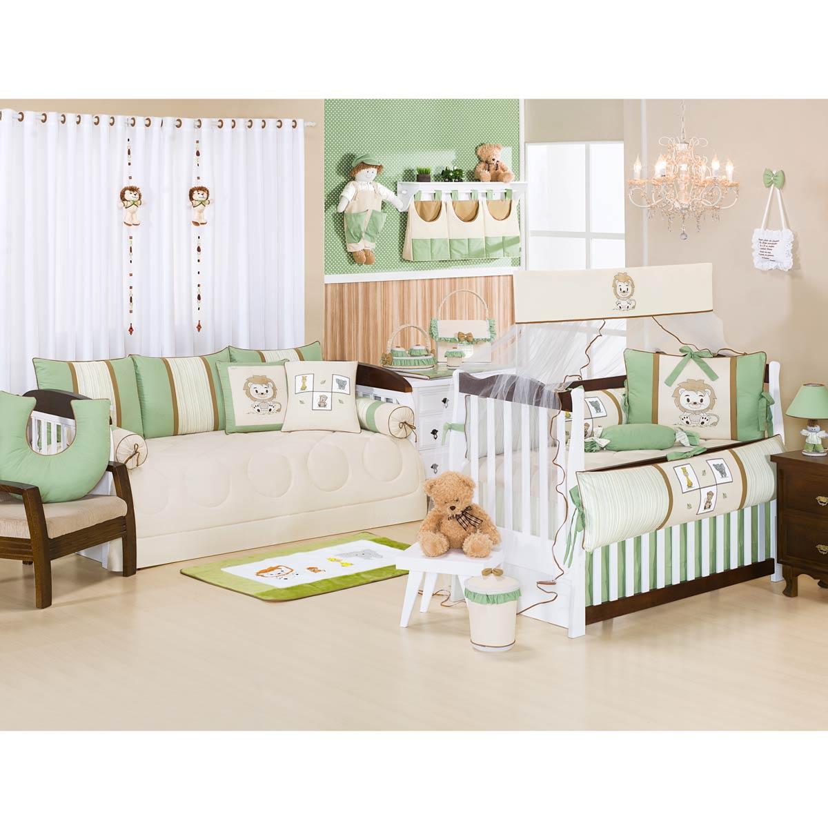 Kit Acessórios com Abajur, Cesta e Potes - Coleção Leãozinho Baby