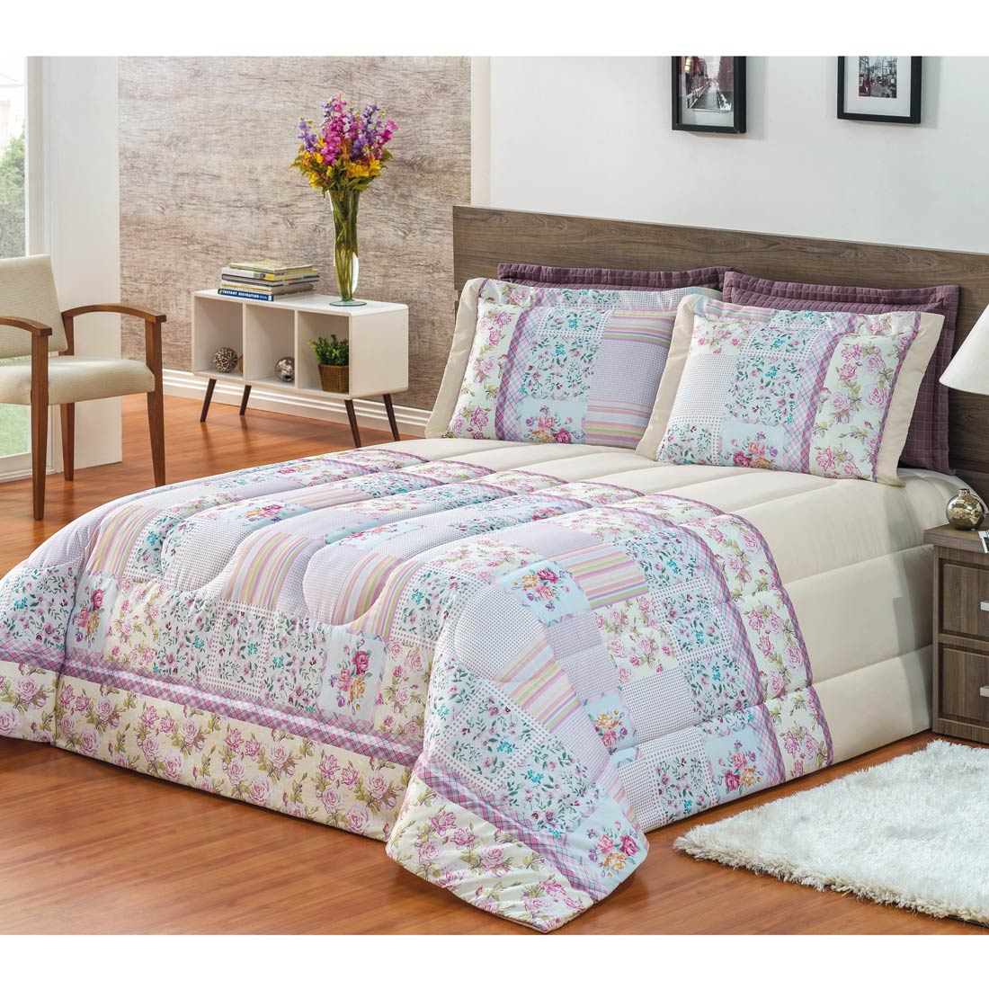 Kit Edredom Casal King Patchwork Lucile 03 Pe�as - Palha