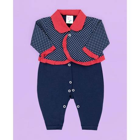 Macacão com Blusa - Tecido Malha - Azul com Vermelho - G
