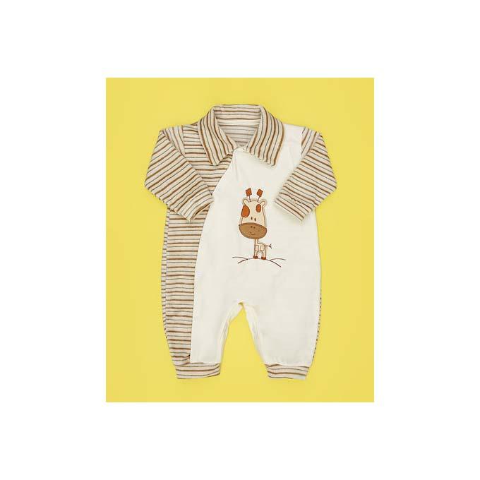 Macacão Manga Longa Bordado Girafinha Tecido Malha Listra Bege - RN