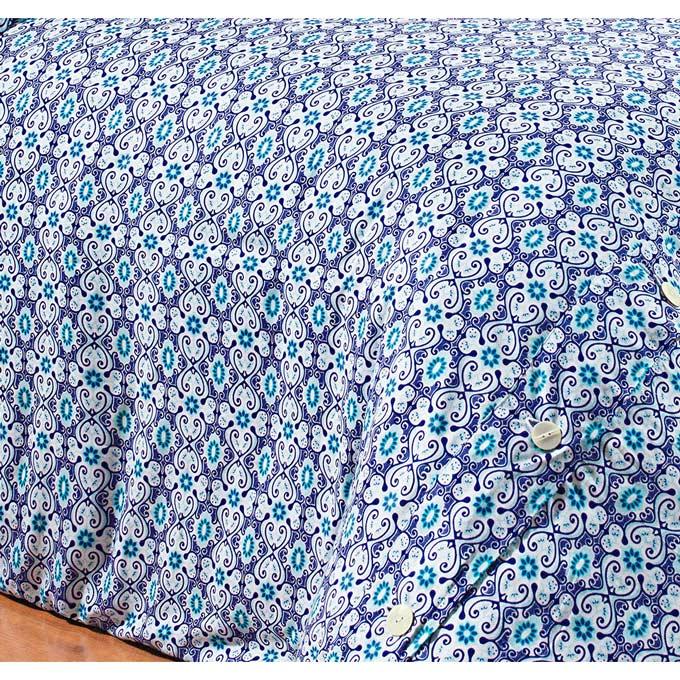 Capa de Edredom (Duvet) Casal King Maiorca 03 Peças - 100% Algodão 200 Fios - Azul