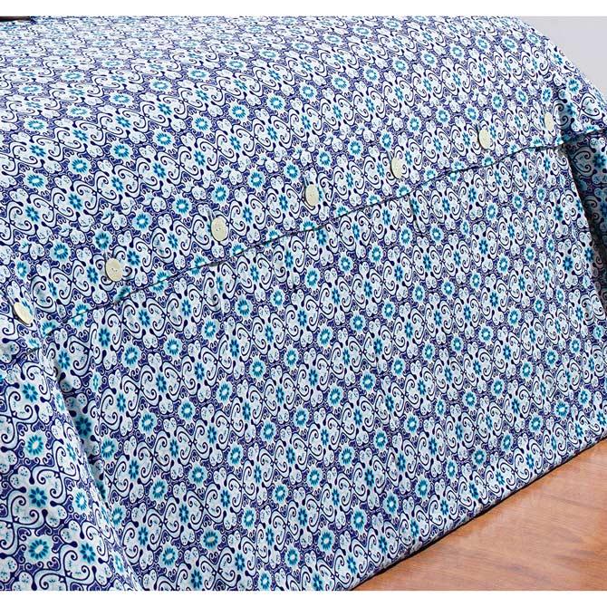 Capa de Edredom (Duvet) Casal Super King Maiorca 03 Peças - 100% Algodão 200 Fios - Azul