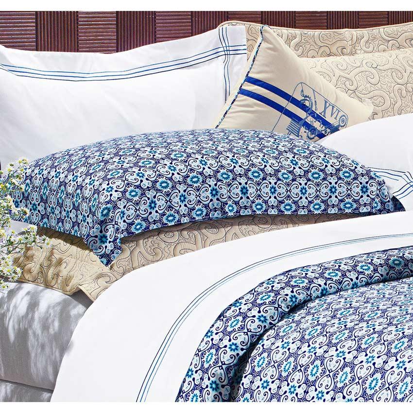 Capa de Edredom (Duvet) Casal Queen Maiorca 03 Peças - 100% Algodão 200 Fios - Azul