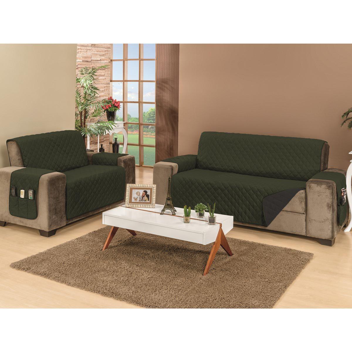 Protetor de Sofá Manu Para 2 e 3 Lugares Dupla Face Tecido Microfibra - Preto/Verde